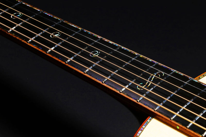 Abalonie fretboard inlays on Piña Parlor guitar